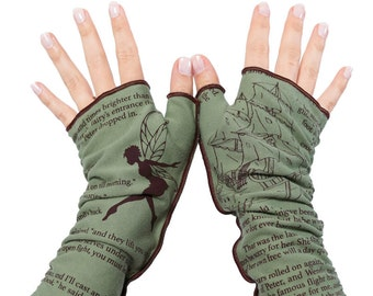 Peter Pan Writing Gloves - Fingerless Gloves, Arm Warmers, J.M. Barrie, Literary, Book Lover, Books, Reading