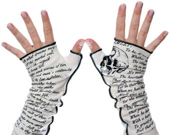 Hamlet Writing Gloves - Fingerless Gloves, Arm Warmers, Shakespeare, Literary, Book Lover, Books, Reading