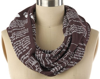 The Wind in the Willows Book Scarf - Infinity Scarf, Literary Scarf, Kenneth Grahame, Book Lover, Books, Reading, Animals