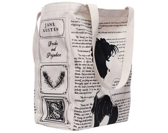 Pride and Prejudice Book Tote - Jane Austen, Tote Bag, Literary, Book Lover, Books, Literature, Teacher Gift, Gift for Reader