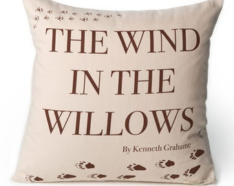 The Wind in the Willows Pillow Cover - Kenneth Grahame, Throw Pillow, Book Pillow, Literary Pillow, Book Nook, Book Lover, Books, Animals
