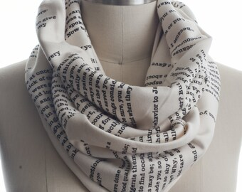 Pride and Prejudice Book Scarf - Infinity Scarf, Literary Scarf, Jane Austen, Book Lover, Books, Reading, Teacher Gift