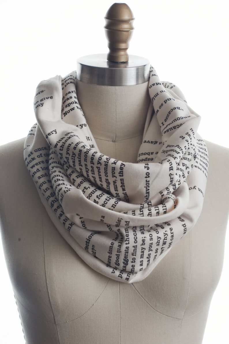 Pride and Prejudice Book Scarf   Infinity Scarf Literary image 0