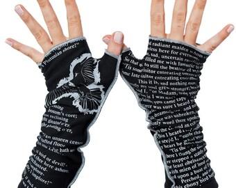 The Raven Writing Gloves - Fingerless Gloves, Arm Warmers, Edgar Allan Poe, Literary, Book Lover, Books, Reading