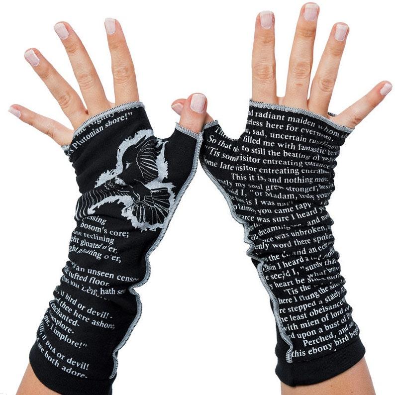 The Raven Writing Gloves  Fingerless Gloves Cotton Arm image 0