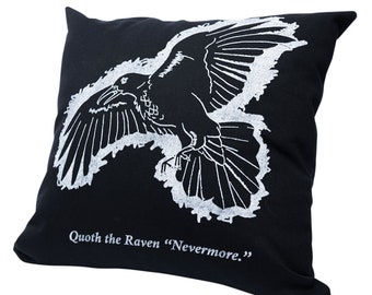 The Raven by Edgar Allan Poe Pillow Cover - Edgar Allan Poe, Throw Pillow, Book Pillow, Literary Pillow, Book Nook, Book Lover, Books