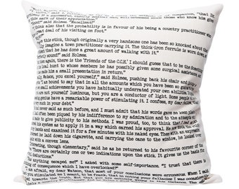 Sherlock Holmes Pillow Cover - Arthur Conan Doyle, Throw Pillow, Book Pillow, Literary Pillow, Book Nook, Book Lover, Books, Reading