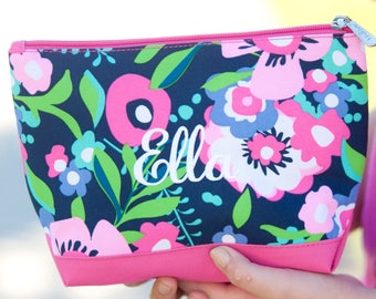 Personalized Zipper Pouch, Monogram Zipper Bag, Flower Girl Gifts, Zip Pouch, Bridesmaid Gifts, Makeup Bag, Cosmetic Bag, Monogram Clutch