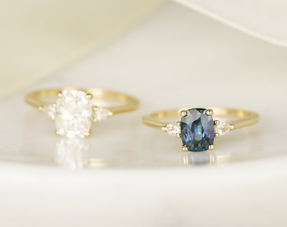 1.40ct Ready to Ship Petite Ellis 14kt Gold Ocean Blue Teal Sapphire Diamond Pear 3 Stone Elongated Cushion Engagement Ring,Rosados Box