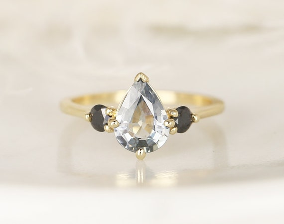 1.58ct Ready to Ship Petite Greta 14kt Gold Cornflower Blue Sapphire Black Diamond Pear Round 3 Stone Dainty Engagement Ring,Rosados Box