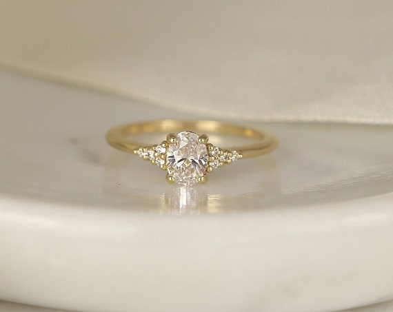 0.71ct Ready to Ship Maddy 14kt Gold Lab Diamond Art Deco Dainty Oval Cluster 3 Stone Engagement Ring,Rosados Box