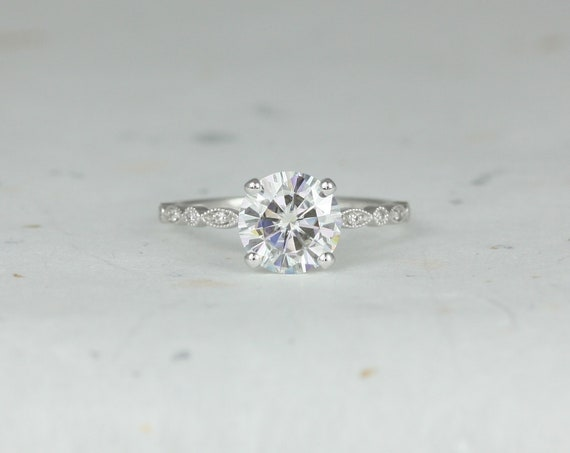 2ct Nadine 8mm 14kt White Gold Round Forever One Moissanite Diamond Dainty Scalloped Art Deco WITH Milgrain Engagement Ring,Rosados Box