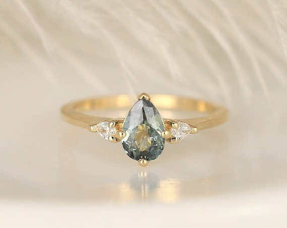 0.85ct Ready to Ship Evette 14kt Solid Gold Chameleon Teal Sapphire Diamond Minimalist 3 Stone Pear Engagement Ring,Rosados Box