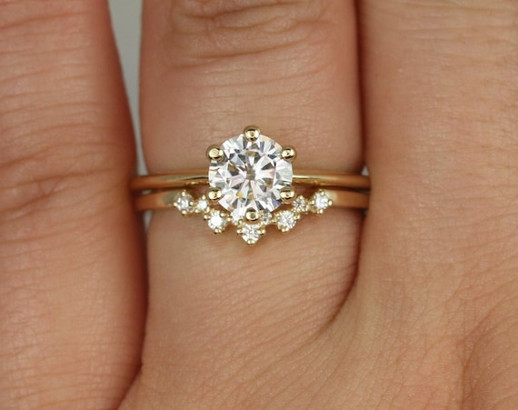 1ct Skinny Webster 6.5mm & Remy 14kt Gold Forever One Moissanite Diamond Cluster 6 Prong Round Solitaire Wedding Set Rings,Rosados Box