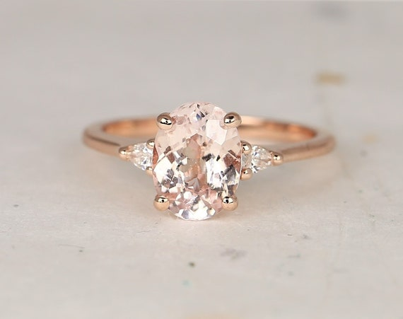 2.22cts Ready to Ship Petite Emery 14kt Rose Gold Peach Sapphire Dainty Diamond Pear 3 Stone Oval Engagement Ring,Rosados Box