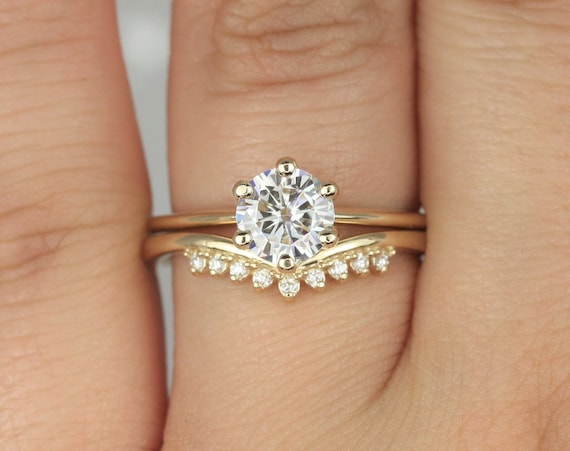 1ct Skinny Webster & Lonnie 14kt Solid Gold Round Forever One Moissanite Diamond Dainty 6 Prong Solitaire Wedding Set Rings,Rosados Box