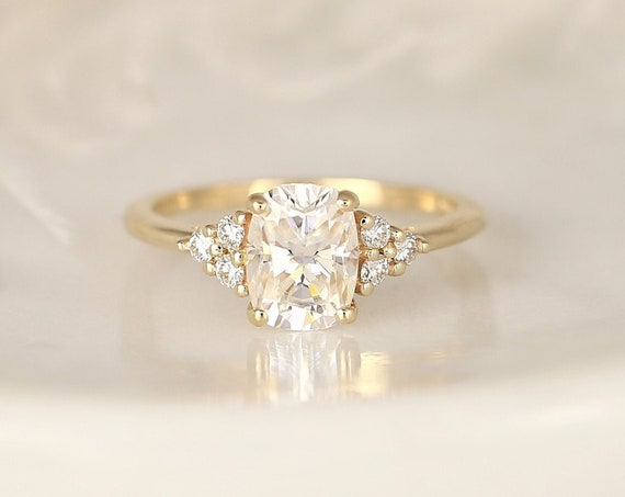 1.50ct Cambria 8x6mm 14kt Gold Forever One Moissanite Diamonds Dainty Elongated Cushion Cluster 3 Stone Engagement Ring,Rosados Box