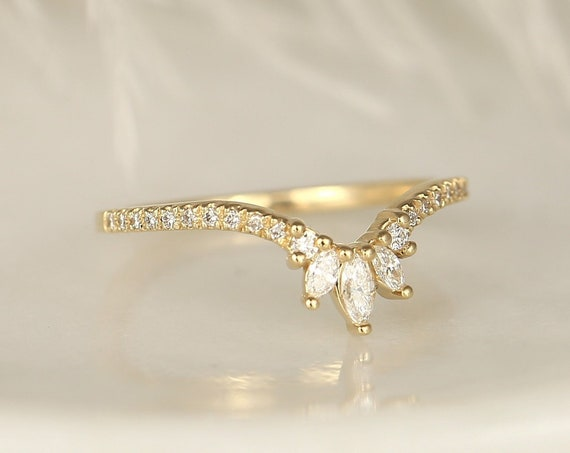 Ariana 14kt Solid Gold Diamonds Marquise Dainty Chevron Tiara Crown Curved Unique Nesting Ring,Stacking Ring,Rosados Box
