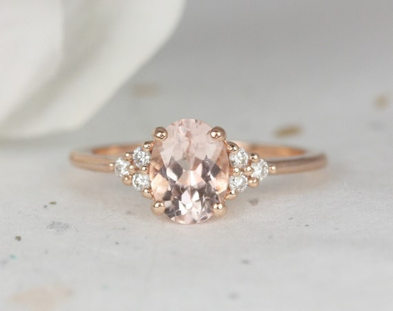 Juniper 8x6mm 14kt Rose Gold Morganite Diamonds Dainty Oval Cluster 3 Stone Engagement Ring,Rosados Box