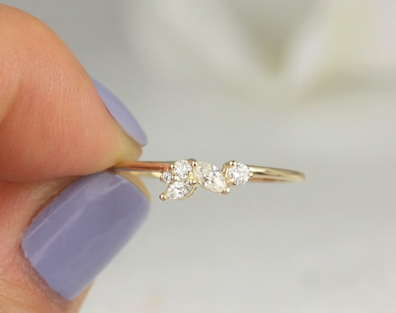 Skye 14kt Solid Gold Diamond Marquise Round Art Deco Dainty Cluster Stacking Ring,Rosados Box
