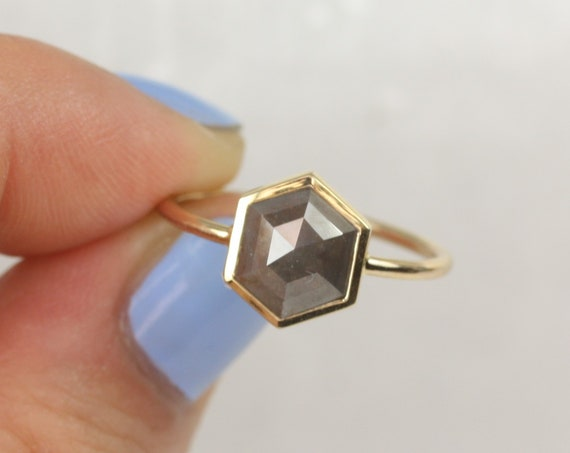 Petra 14kt Solid Gold Rose Cut Hexagon Rustic Salt Pepper Dainty Geometric Diamond Ring,Rosados Box