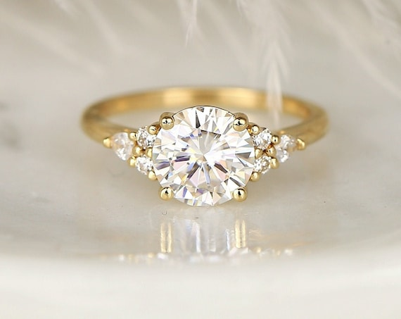 2cts Constance 8mm 14kt Gold Forever One Moissanite Diamonds Unique Dainty Cluster 3 Stone Round Engagement Ring,Rosados Box