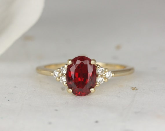 Juniper 8x6mm 14kt Gold Ruby Diamonds Dainty Oval Cluster 3 Stone Engagement Ring,Rosados Box