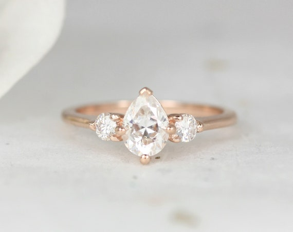 0.75ct Petite Greta 7x5mm 14kt Rose Gold Forever One Moissanite Pear Round 3 Stone Dainty Engagement Ring,Rosados Box