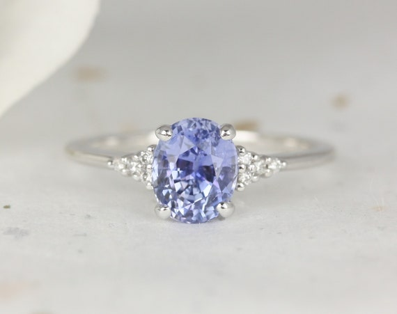 2ct Ready to Ship Maddy 14kt White Gold Cornflower Lavender Sapphire Diamond Dainty Oval Cluster 3 Stone Ring,Rosados Box