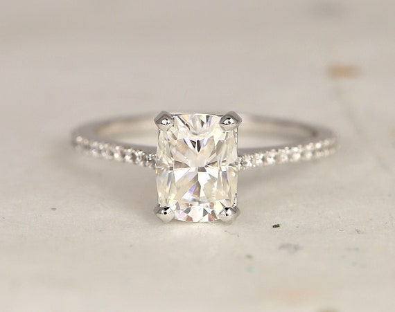 1.50cts Whitney 8x6mm 14kt White Gold Forever One Moissanite Diamond Dainty Pave Minimalist Rectangle Cushion Engagement Ring,Rosados Box