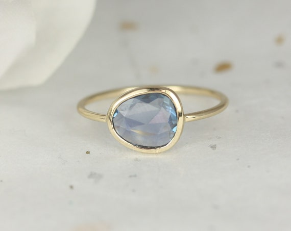 1.22ct Ready to Ship Donatella Pebble 14kt Gold Free Form Organic Slice Rose Cut Teal Blue Sapphire Dainty Ring,Rosados Box