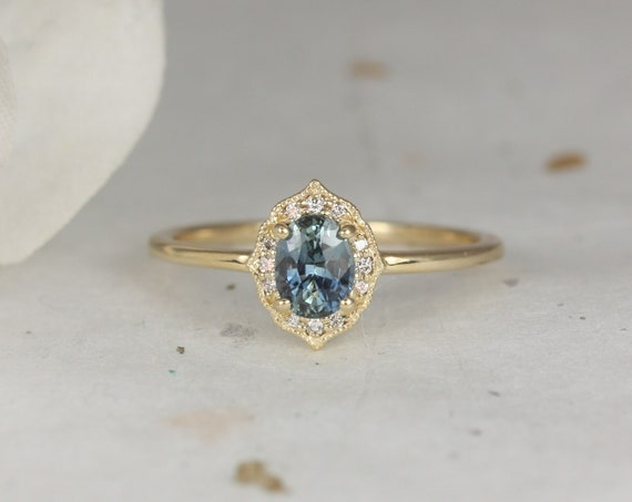 0.71ct Ready to Ship Mini Mae 14kt Gold Ocean Teal Sapphire Diamond Dainty Art Deco Oval Halo WITH Milgrain Ring,Rosados Box