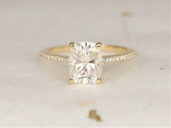 2.30cts Blair 9x7mm 14kt Solid Gold Forever One Moissanite Diamond Dainty Pave Minimalist Rectangle Cushion Engagement Ring,Rosados Box