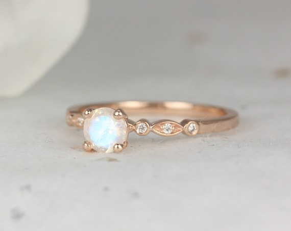 Gale 5mm 14kt Rose Gold Rainbow Moonstone Diamonds WITHOUT Milgrain Art Deco Round Solitaire Ring,Rosados Box
