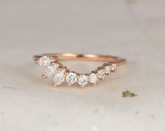 Trix 14kt Solid Rose Gold Tiara Crown Diamonds Band Asymmetrical Curved Nesting Ring,Rosados Box