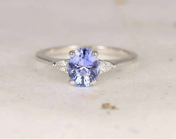 1.34cts Ready to Ship Petite Emery 14kt White Gold Cornflower Lavender Sapphire Diamond Pear 3 Stone Oval Engagement Ring,Rosados Box