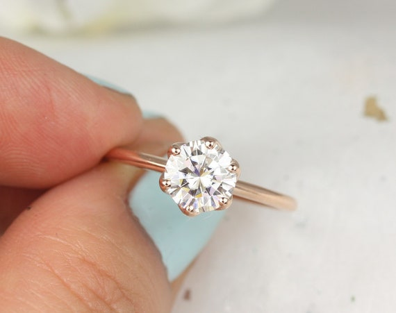 1.25ct Edith 7mm 14kt Rose Gold Round Forever One Moissanite Dainty Thin 6 Prong Engagement Ring,Rosados Box