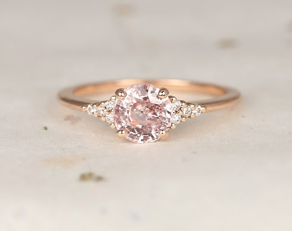 1.40ct Ready to Ship Malia 14kt Rose Gold Peach Sapphire Diamonds Dainty Round 3 Stone Cluster Ring,Rosados Box