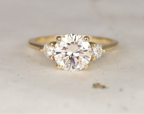 2ct Colette 8mm 14kt Solid Gold Forever One Moissanite Diamonds Dainty Minimalist 3 Stone Round Engagement Ring,Rosados Box