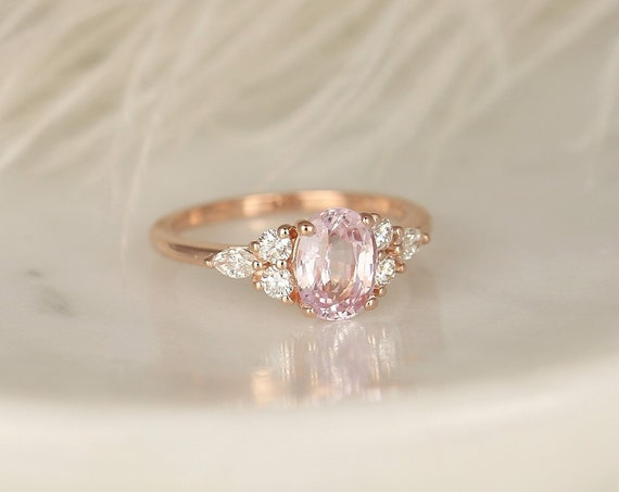 1.70ct Ready to Ship Thea 14kt Solid Gold Blush Champagne Sapphire Diamond Art Deco Cluster 3 Stone Oval Ring,Rosados Box