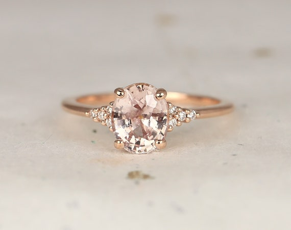 2cts Ready to Ship Maddy 14kt Rose Gold Peach Sapphire Diamond Cluster 3 Stone Oval Engagement Ring,Rosados Box