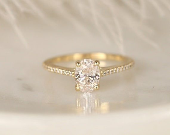 0.91ct Ready to Ship Blake 14kt Gold Lab Diamond Thin Dainty Diamond Accent Solitaire Cathedral Engagement Ring,Rosados Box