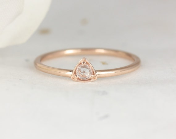 Ultra Petite Zelda 14kt Rose Gold Rose Cut White Sapphire Dainty Triangle Trillion Minimalist Stacking Ring,Rosados Box