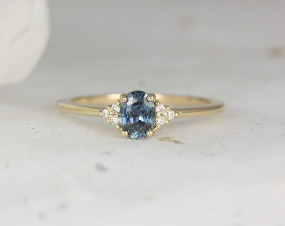 0.63ct Ready to Ship Juniper 14kt Gold Ocean Blue Sapphire Diamond Dainty Oval Cluster 3 Stone Ring,Rosados Box