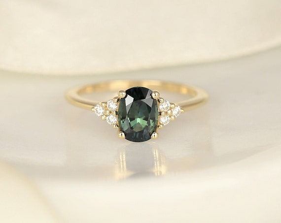 1.49ct Ready to Ship Juniper 14kt Gold Ocean Teal Sapphire Diamond Dainty Oval Cluster 3 Stone Ring,Rosados Box