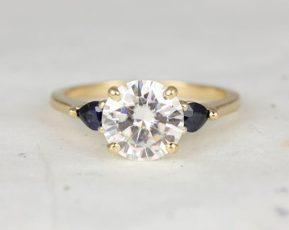 2cts Elise 8mm 14kt Solid Gold Forever One Moissanite Sapphire Pear Cluster Round 3 Stone Engagement Ring,Rosados Box