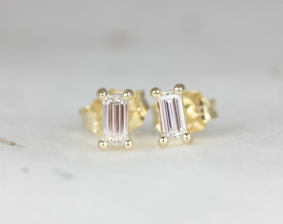 Ultra Petite Betty 14kt Gold Forever One Moissanite Baguette Stud Earrings,Rosados Box