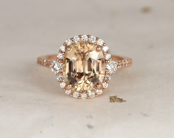 6.53cts Ready to Ship Bridgette 14kt Rose Gold Cognac Champagne Zircon Diamonds Pave Dainty 3 Stone Unique Oval Halo Ring,Rosados Box