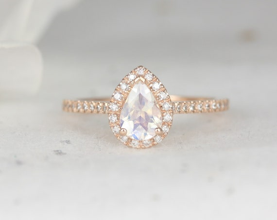 Tabitha 7x5mm 14kt Rose Gold Rainbow Moonstone Diamonds Dainty Micropave Pear Halo Engagement Ring,Rosados Box