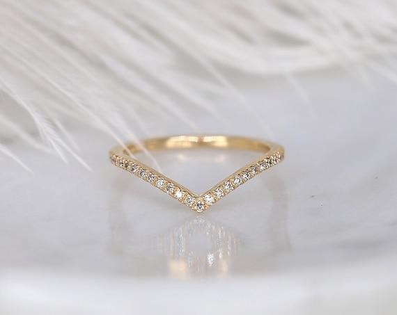 Chevy 2.0 14kt Gold Dainty Chevron Pave Diamond Minimalist V Ring Stacking Ring,Nesting Ring,Rosados Box